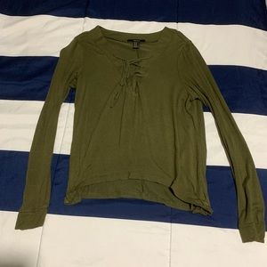 Forever 21 Olive Green Long Sleeve Top